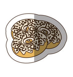 Contour chocolate donuts icon vector