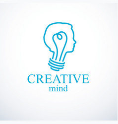 Creative brain concept intelligent person logo vector