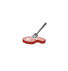 Creative meat flesh fork logo design symbol vector