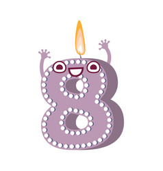 cute birthday candle number character eight vector image