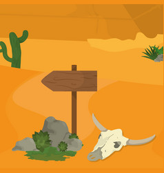 desert with signpost and skull vector image vector image