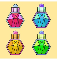 Design of coloured parfume bottles vector