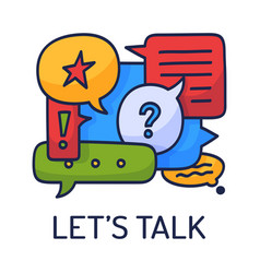 dialog speech bubbles with icons and text lets vector image