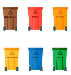 Different recycling garbage waste types sorting vector