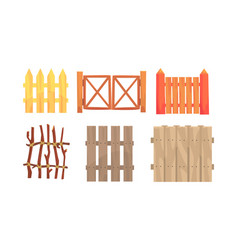 Different wooden fences collection countryside vector