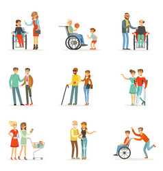 Disabled people and friends helping them set for vector