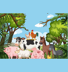 farm animals in jungle scene vector image