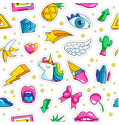 fashion unicorn badges pattern in comic style vector image