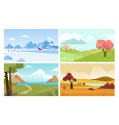 four seasons backgrounds summer winter autumn vector image