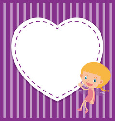 Frame template design with girl and heart vector