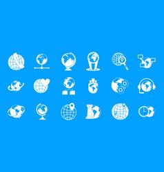 globe icon blue set vector image