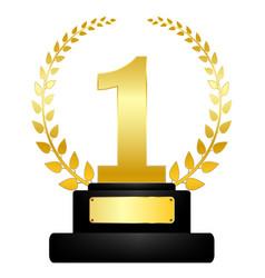 Golden award on pedestal winner icon success vector