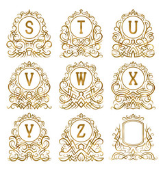 golden vintage monograms letters from s to z vector image