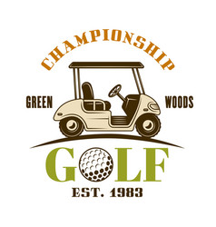 golf cart colored emblem label badge vector image