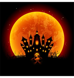 Halloween Blood Moon and Haunted Castle vector image