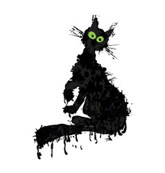 Halloween ink silhouette animal kitty isolated vector