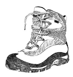Hand drawn doodle hiking boot vector