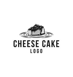 Hand drawn piece of cheese cake logo designs vector