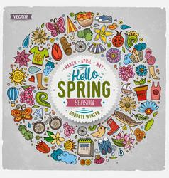 Hand drawn set of spring cartoon doodle vector