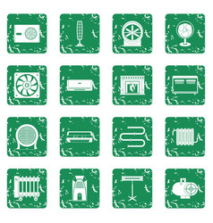 Heating cooling air icons set grunge vector