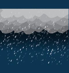 Heavy rain in dark sky vector