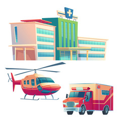 Hospital building ambulance car and helicopter vector