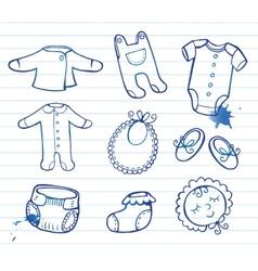 Infant clothes icon set vector