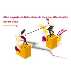 Isometric conflict of partners in business vector