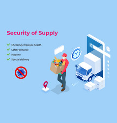 Isometric delivery man or courier in a medical vector