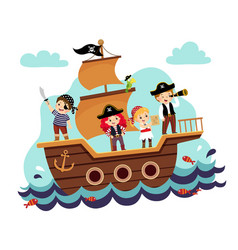 kids pirates on ship vector image