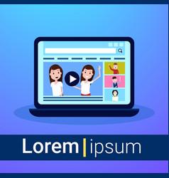 laptop media load concept online video stream vector image