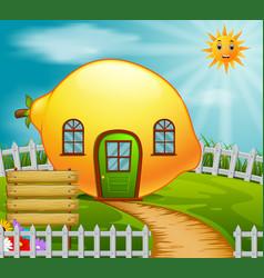 Lemon house in garden vector