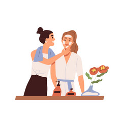 Lesbian couple standing in bathroom together cute vector