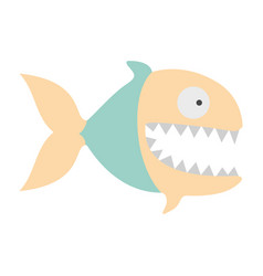 Light colours silhouette of piranha with big vector