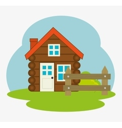Log cabin camping icon vector