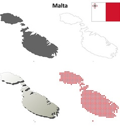 Malta outline map set vector image