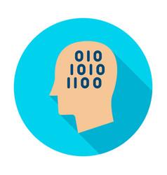 man head binary code circle icon vector image