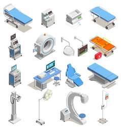 medical equipment isometric icons vector image