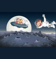 Monkeys playing in space vector