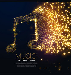 music note made with glowing particles background vector image