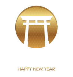 New years card template with a shinto gateway vector