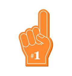 Number 1 fan orange foam finger vector