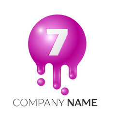 Number seven splash logo purple dots and bubbles vector