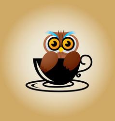 Owl logo coffee vector
