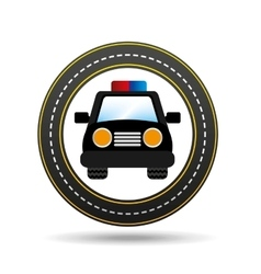 police car front circle road way design vector image