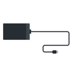 Power bank with cable flat isolated vector