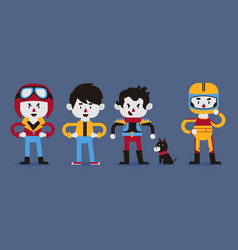 rad character in various outfits vector image