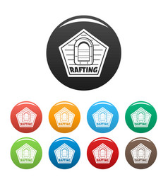 Rafting icons set color vector