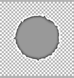 Ragged round hole in transparent sheet of paper vector