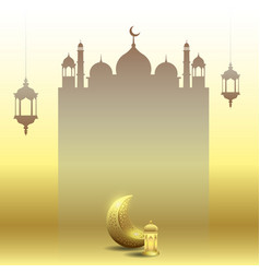Ramadan kareem with moon lantern and mosque vector